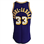 Circa 1984 Kareem Abdul-Jabbar Los Angeles Lakers Game-Used & Autographed Road Jersey (JSA)