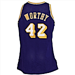 1991-1992 James Worthy Los Angeles Lakers Game-Used & Autographed Road Jersey (JSA)