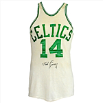 Early 1960s Bob Cousy Boston Celtics Game-Used & Autographed Home Uniform (2) (JSA)