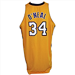 2000-2001/2002 Shaquille ONeal Los Angeles Lakers Game-Used & Autographed Home Jersey (Championship Season) (JSA)