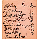 9/30/1934 Babe Ruth Last Day as a NY Yankee Autographed Page with Others (JSA)