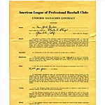 1957-1958 Casey Stengel NY Yankees Signed Contract (JSA)