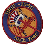 Original 1903-1952 NY Yankees 50th Anniversary Patch (Very Rare)