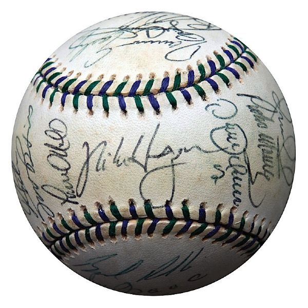 1998 American League All-Star Team Autographed Baseball (JSA)