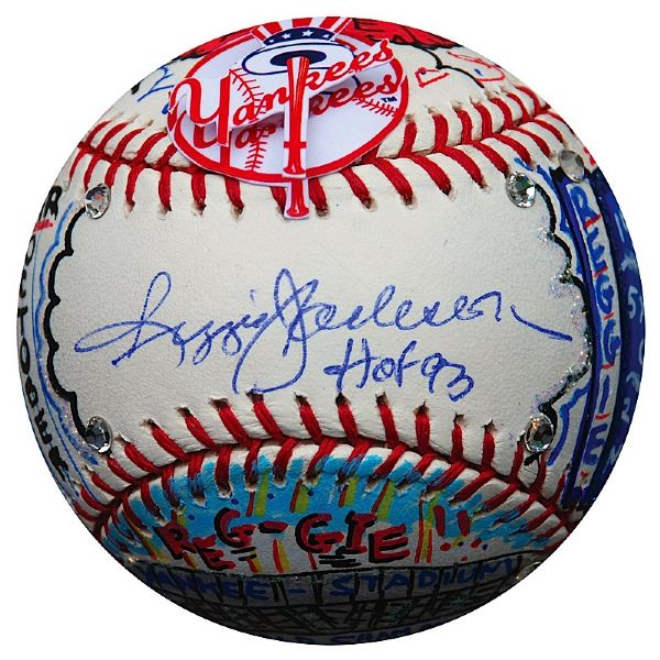 Reggie Jackson One of a Kind Single-Signed Baseball Hand Painted by Charles Fazzino (JSA) (MLB)