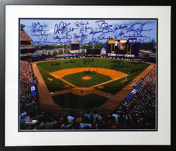 Framed NY Mets Autographed Photo of Shea Stadium - 32 Signatures (Steiner COA) (JSA)