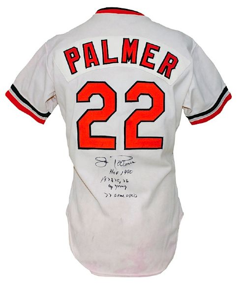 1977 Jim Palmer Baltimore Orioles Game-Used & Autographed Home Jersey  (JSA)