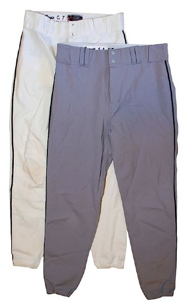 Lot of 1996 Jeff Bagwell Road & Craig Biggio Home Houston Astros Game-Used Pants (2)