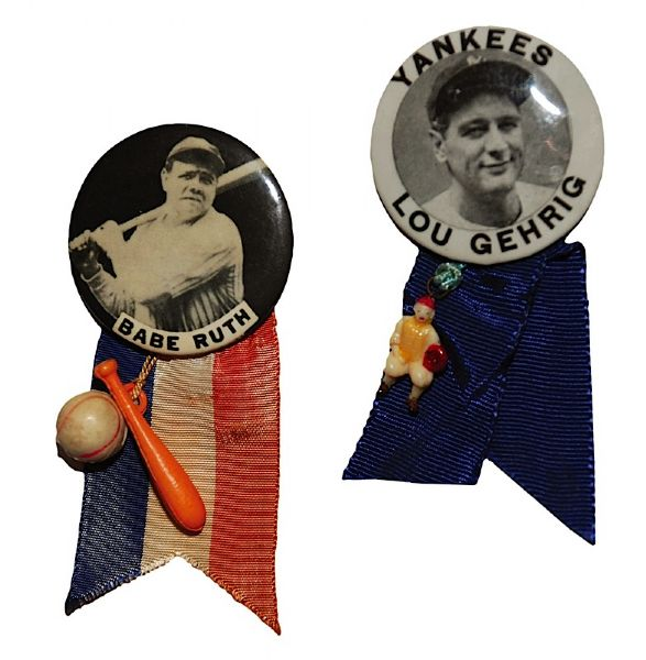 Babe Ruth & Lou Gehrig Stadium Pins with Ribbons (2)