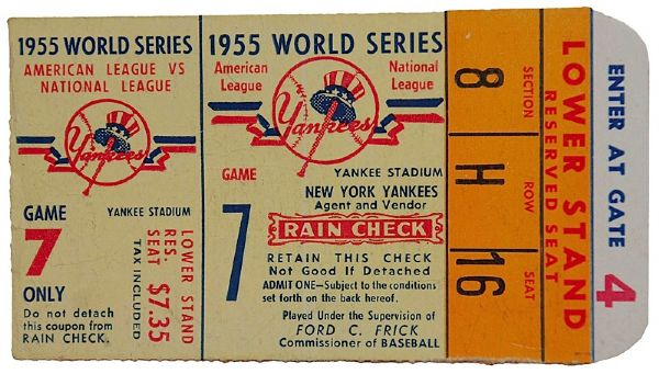 1955 Brooklyn Dodgers Game 7 World Series Ticket with Johnny Podres Photo (2)