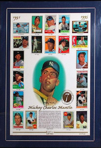 Mickey Mantle Framed Topps Limited Edition Card Sheet