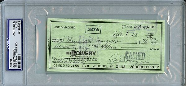 Lot of Joe DiMaggio Signed Checks (9) (JSA)