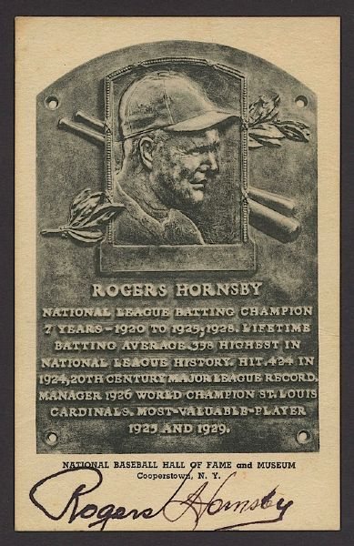 Rogers Hornsby Autographed Hall of Fame Plaque (JSA)