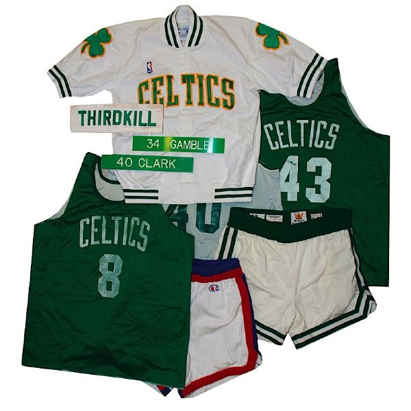 Lot of Boston Celtics Game-Used Shorts, Worn Practice Jerseys with Other Items (15)