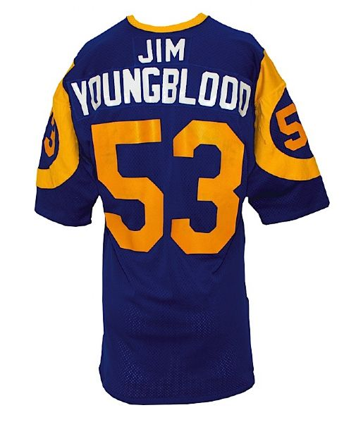 Mid 1970s Jim Youngblood Los Angeles Rams Game-Used Home Jersey (Team Repairs)