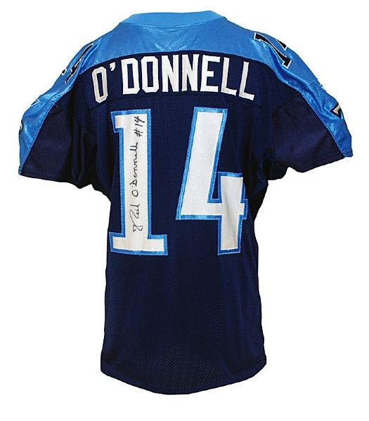 2001 Neil ODonnell Tennessee Titans Game-Used & Autographed Home Jersey (JSA)
