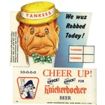 1950s NY Yankees Knickerbocker Beer Double Sided Advertising Sign (Very Rare)