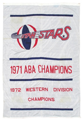 1971 Utah Stars ABA Champions Original Banner That Hung in the Salt Palace
