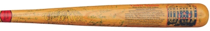 Incredible Yankee Stadium Commemorative Bat Autographed by 105 NY Yankees (JSA)