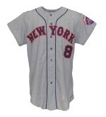 1970 Yogi Berra NY Mets Coaches Worn & Autographed Road Flannel Jersey (JSA)