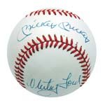 """Mickey Mickey"" (Mantle) Autographed Baseball with Whitey Ford (Very Rare) (JSA)"
