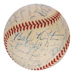 9/28/1947 Old-Timers' Game at Yankee Stadium – Historic Baseball Signed by Nineteen Hall of Famers Including Ruth, Cobb, Foxx and Cy Young (Full JSA LOA)