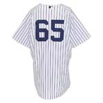 5/20/2010 Phil Hughes NY Yankees Bench Worn Home Jersey (Yankees Steiner LOA) (MLB)