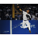Derek Jeter Jump Throw Pinstripe Jersey Horizontal 16x20 Photo (MLB Auth)