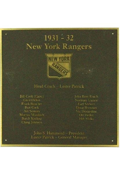 "NY Rangers 1931-32 Team Roster Plaque (8""x8"") (Brown with Gold Text and Border) (Rangers locker room)"