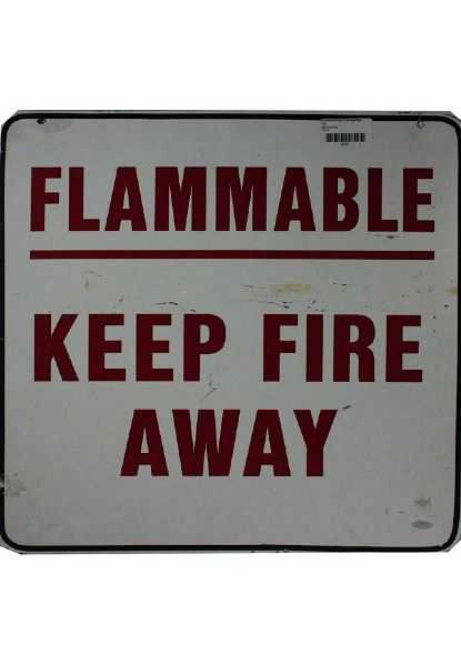 Flammable Keep Fire Away Sign From  Giants Stadium