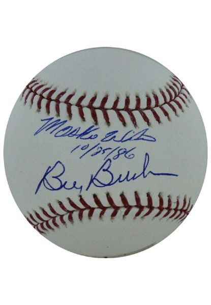 Bill Buckner/Mookie Wilson Dual Signed MLB Baseball w/ Date Insc. by Wilson (SSM 3rd Party Holo and Cert Card)