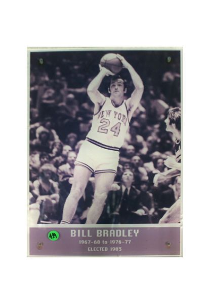 "Bill Bradley Hall of Fame Acrylic Laminated 11""x16"" Photo w/ Years Played and Elected Date Edges cracked. (Floor 5) (Steiner Sports COA)"