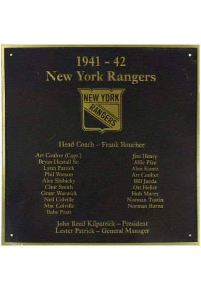 "NY Rangers 1941-42 Team Roster Plaque (8""x8"") (Brown with Gold Text and Border) (Rangers locker room) (Steiner Sports COA)"
