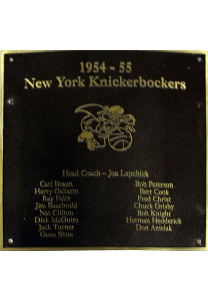 "NY Knicks 1954-55 Team Roster Plaque (8""x8"") (Black with Gold Text and Border) (Knicks Locker Room Hallway) (Steiner Sports COA)"