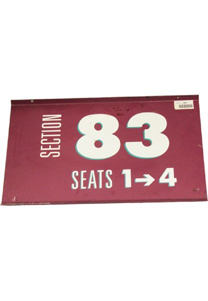 "Section 83, Seats 1 ->4  12""x20"" Purple Sign (MSG) (Steiner Sports COA)"