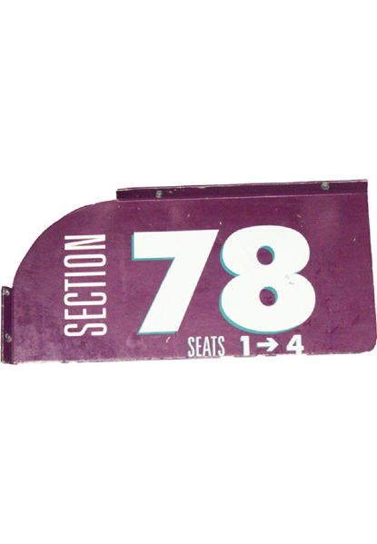 Section 78, Seats 1->4 7x14 Purple and White Sign (MSG) (Steiner Sports COA)