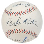 Historically Important NY Yankees Official American League Baseball Autographed by Babe Ruth, Miller Huggins & Jacob Ruppert (All Autographs Visible On A Single Plane • Full JSA)