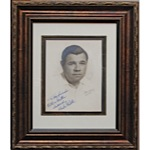 Magnificent Babe Ruth Signed Artist Rendering (Full JSA • Ruth Signed Twice)