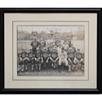 10/4/1931 Framed Babe Ruth Signed Barnstorming Photo with Fort Lee Baseball Club (JSA)