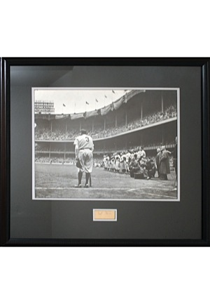 "Babe Ruth ""The Babe Bows Out"" Framed Photo From Original Negative with Nat Fein Autographed Cut (JSA • Nat Fein Estate LOA)"