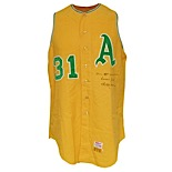 1967 Reggie Jackson Rookie Kansas City Athletics Game-Used & Autographed Home Flannel Vest (JSA)