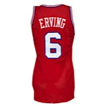 "1987-88 Julius ""Dr. J"" Erving Philadelphia 76ers Game-Issued Road Jersey (Family LOA)"