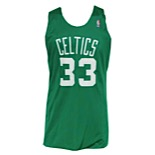 Circa 1989 Larry Bird Boston Celtics Worn Reversible Warm-Up Practice Jersey (Dennis Johnson Family LOA)