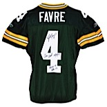 10/14/2007 Brett Favre Green Bay Packers Game-Used & Autographed Home Jersey (JSA • Favre LOA • Photo & Video Match • Photos of Him Signing)