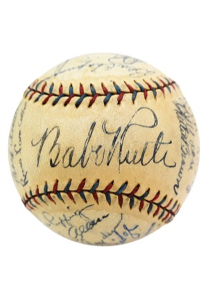 Exceptional 1933 New York Yankees Team Autographed Official American League Baseball with Ruth & Gehrig (Full JSA LOA • 23 Sigs & 9 HoFers)