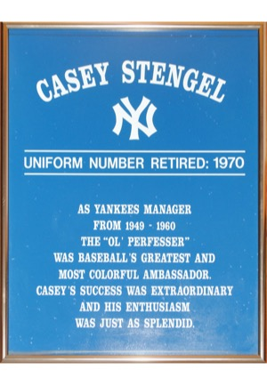 Framed Casey Stengel New York Yankees Monument Park Multi-Signed Retired Number with Plaque (2)(JSA • 39 Sigs & 6 HoFers)