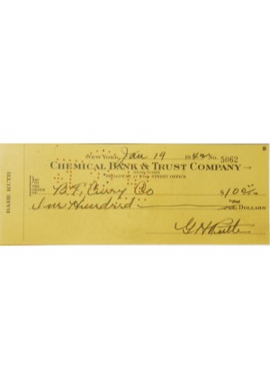 Framed 1/19/1942 Babe Ruth Signed Check (Full JSA)