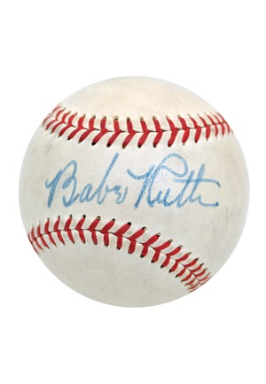 High-Grade 1948 Babe Ruth Single-Signed Official American League Baseball (Full JSA LOA • PSA/DNA Sig Grade 8 • Letter of Provenance • Hobby Fresh)