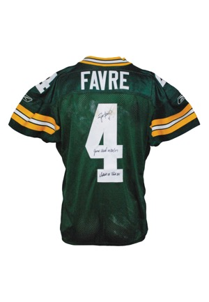 12/30/2007 Brett Favre Green Bay Packers Game-Used & Autographed Home Jersey (JSA • Favre LOA • Final Regular Season Game in Lambeau • Career TDs #441 & #442 • Photomatch • Unwashed)