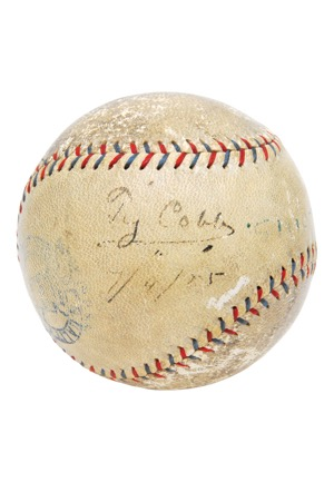 Incredible 5/6/1925 Ty Cobb Game-Used & Single-Signed Record-Setting Home Run Baseball (Full JSA • PSA/DNA • Only Known Fully Documented Cobb HR Ball • 5th of 5 HRs In Consecutive Games)